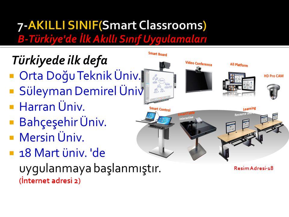Türkiyede ilk defa  Orta Doğu Teknik Üniv. Süleyman Demirel Üniv.i  Harran Üniv.