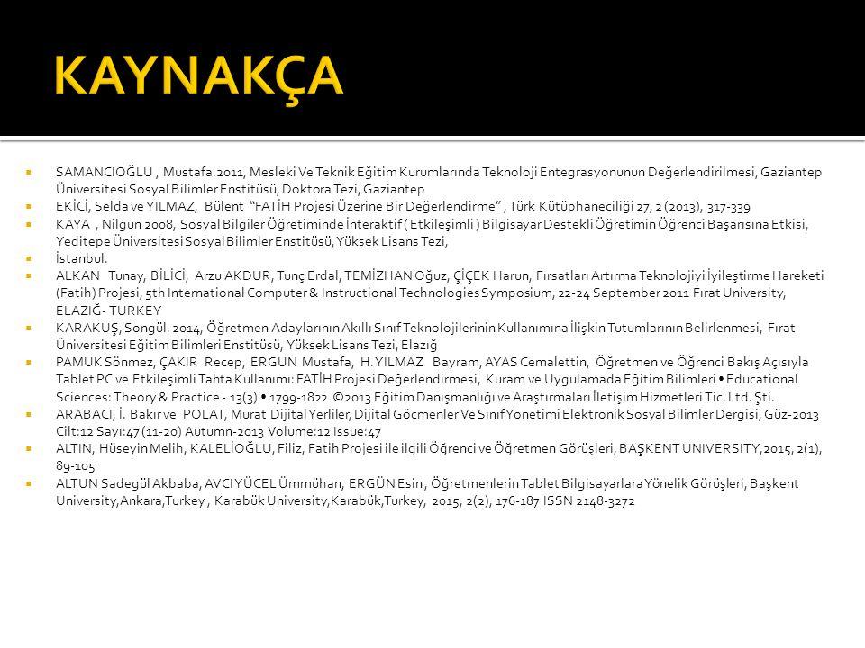  SAMANCIOĞLU, Mustafa.2011, Mesleki Ve Teknik Eğitim Kurumlarında Teknoloji Entegrasyonunun Değerlendirilmesi, Gaziantep Üniversitesi Sosyal Bilimler Enstitüsü, Doktora Tezi, Gaziantep  EKİCİ, Selda ve YILMAZ, Bülent FATİH Projesi Üzerine Bir Değerlendirme , Türk Kütüphaneciliği 27, 2 (2013), 317-339  KAYA, Nilgun 2008, Sosyal Bilgiler Öğretiminde İnteraktif ( Etkileşimli ) Bilgisayar Destekli Öğretimin Öğrenci Başarısına Etkisi, Yeditepe Üniversitesi Sosyal Bilimler Enstitüsü, Yüksek Lisans Tezi,  İstanbul.