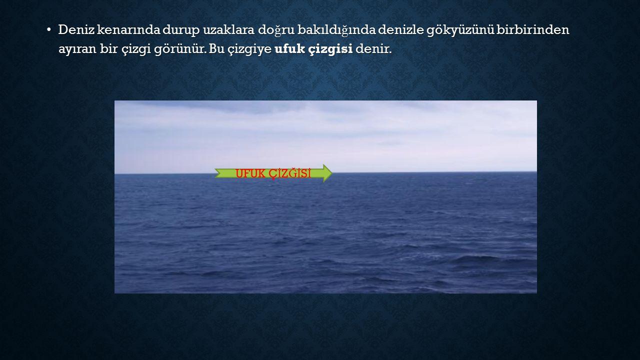 Deniz kenarında durup uzaklara do ğ ru bakıldı ğ ında denizle gökyüzünü birbirinden ayıran bir çizgi görünür.