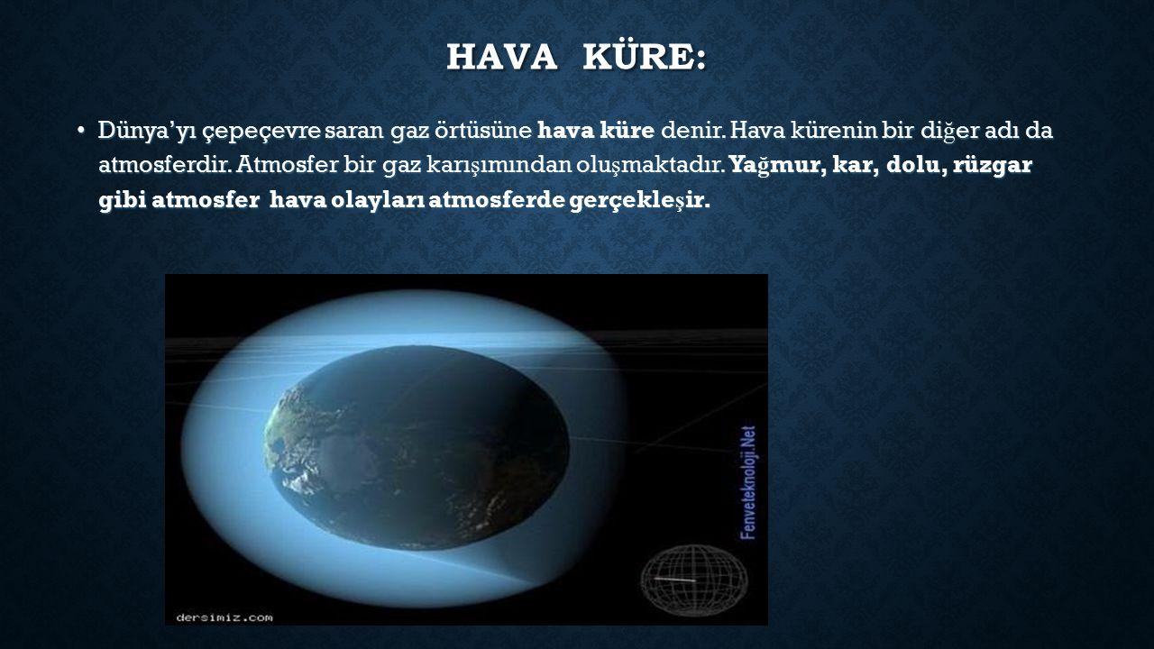 HAVA KÜRE: Dünya'yı çepeçevre saran gaz örtüsüne hava küre denir.