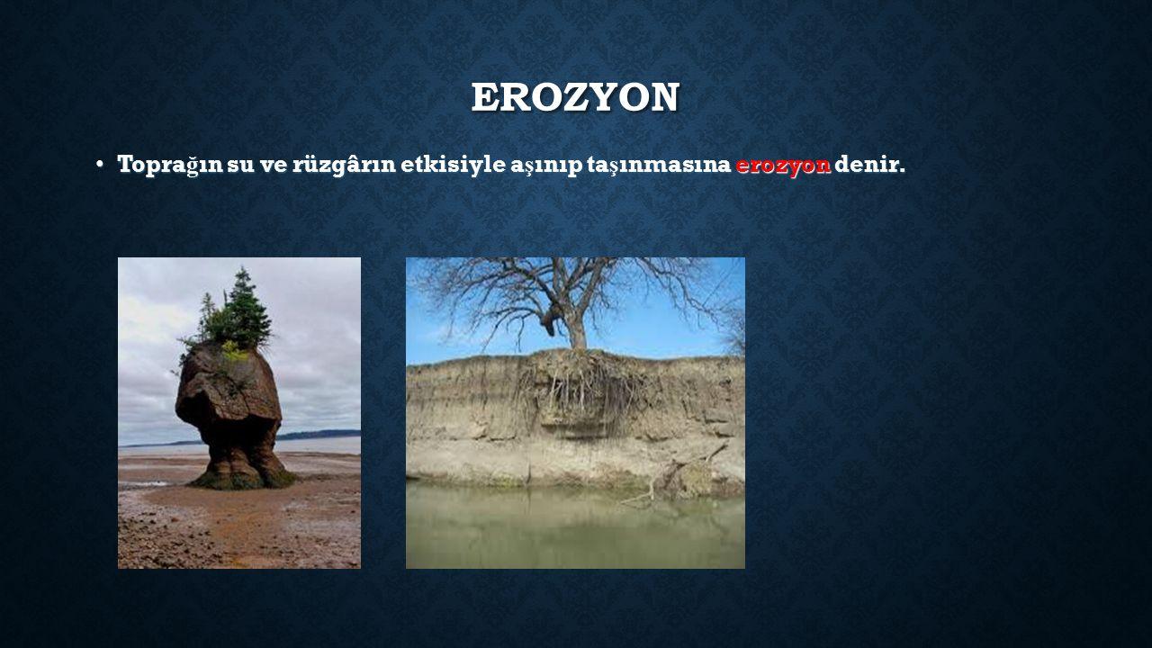EROZYON Topra ğ ın su ve rüzgârın etkisiyle a ş ınıp ta ş ınmasına erozyon denir.