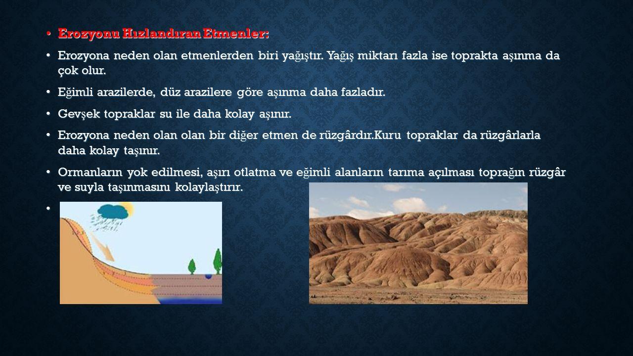 Erozyonu Hızlandıran Etmenler: Erozyonu Hızlandıran Etmenler: Erozyona neden olan etmenlerden biri ya ğ ı ş tır.