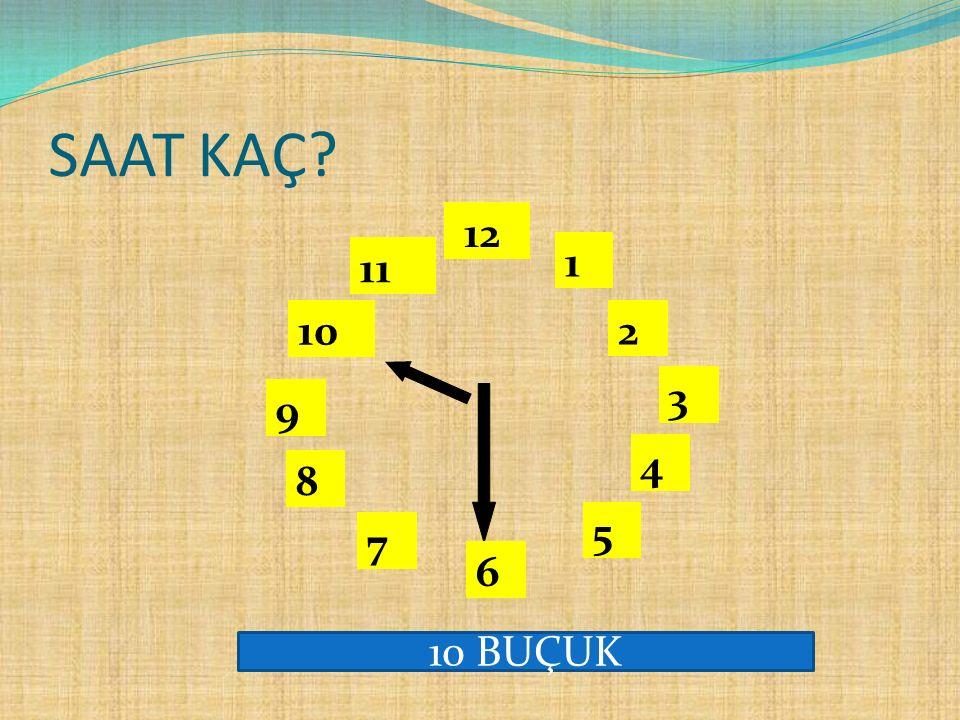 Saatin üzerinde, akrep ve yelkovanın yanı sıra 12'ye kadar rakamlar bulunur. 1 2 3 4 5 12 11 10 6 9 8 7