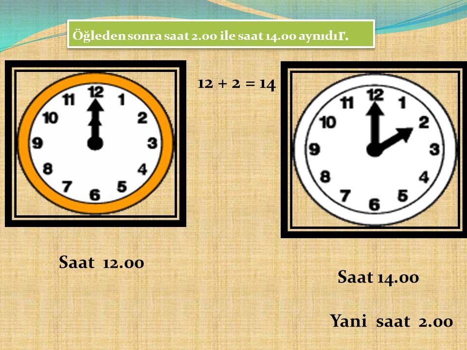 Öğleden sonra saat 2.00 ile saat 14.00 aynıdı r. 12 + 2 = 14 Saat 12.00 Saat 14.00 Yani saat 2.00