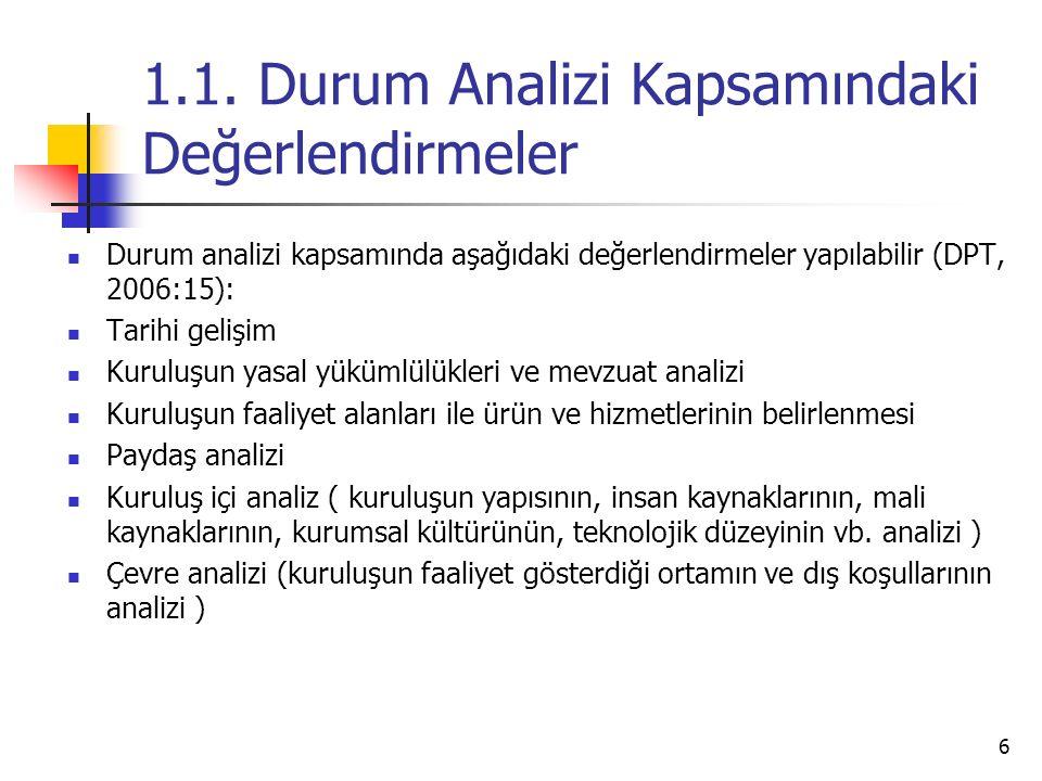 1.1. Durum Analizi Kapsamındaki Değerlendirmeler Durum analizi kapsamında aşağıdaki değerlendirmeler yapılabilir (DPT, 2006:15): Tarihi gelişim Kurulu