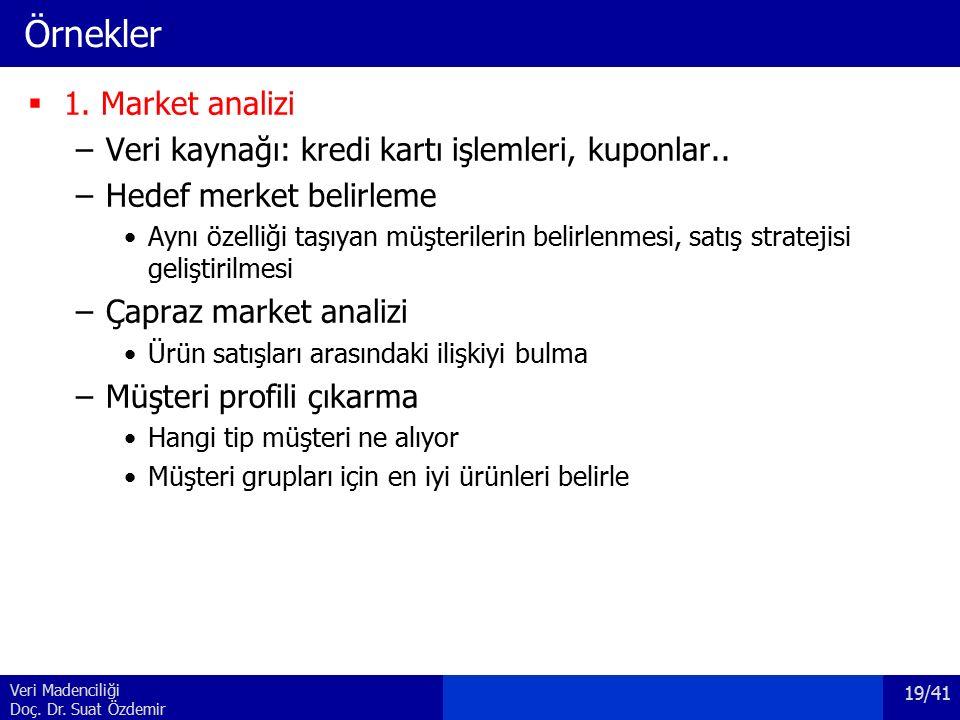Veri Madenciliği Doç. Dr. Suat Özdemir Örnekler  1. Market analizi –Veri kaynağı: kredi kartı işlemleri, kuponlar.. –Hedef merket belirleme Aynı özel