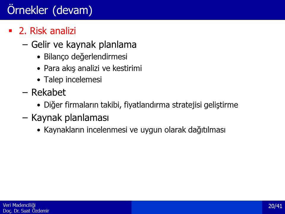 Veri Madenciliği Doç. Dr. Suat Özdemir Örnekler (devam)  2.