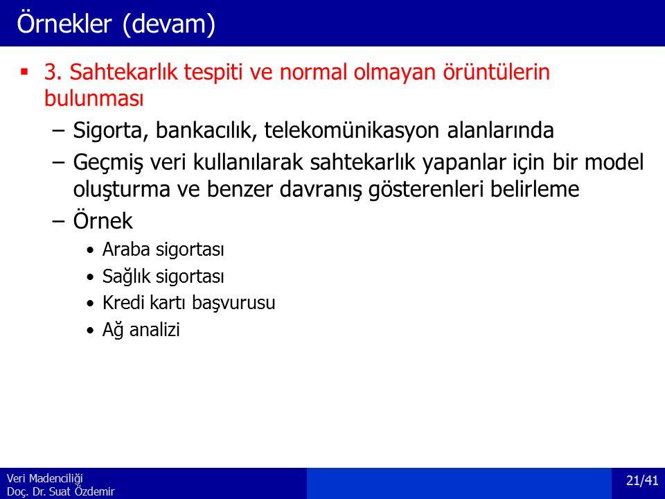 Veri Madenciliği Doç. Dr. Suat Özdemir Örnekler (devam)  3. Sahtekarlık tespiti ve normal olmayan örüntülerin bulunması –Sigorta, bankacılık, telekom