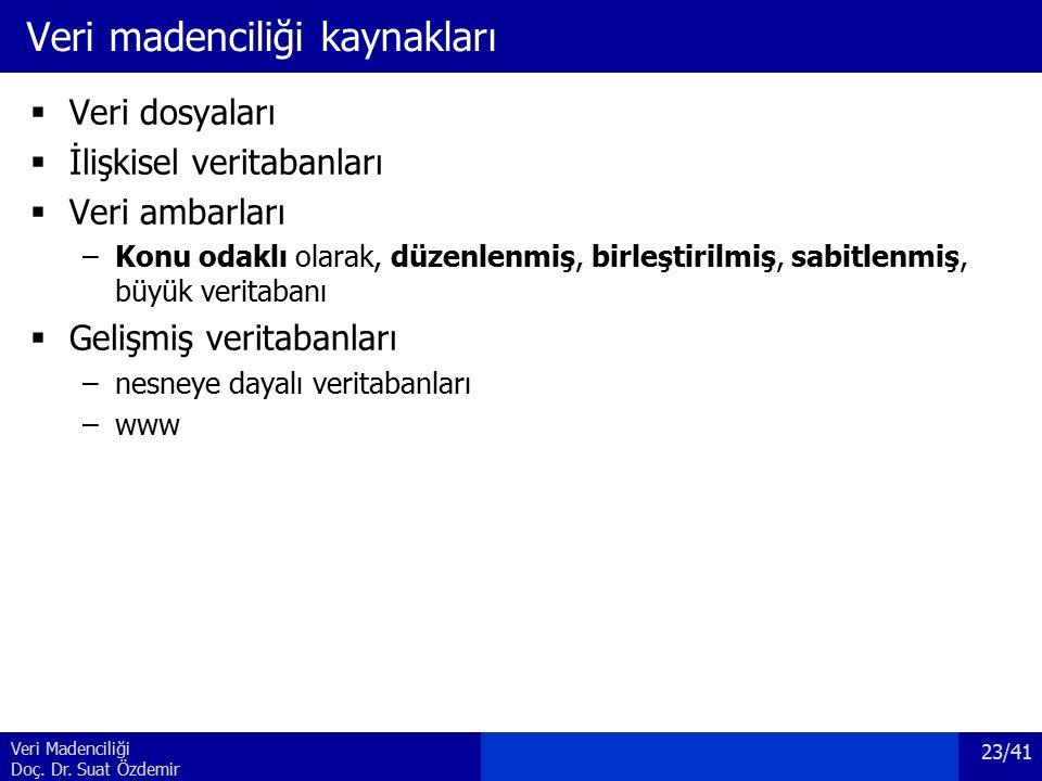 Veri Madenciliği Doç. Dr. Suat Özdemir Veri madenciliği kaynakları  Veri dosyaları  İlişkisel veritabanları  Veri ambarları –Konu odaklı olarak, dü