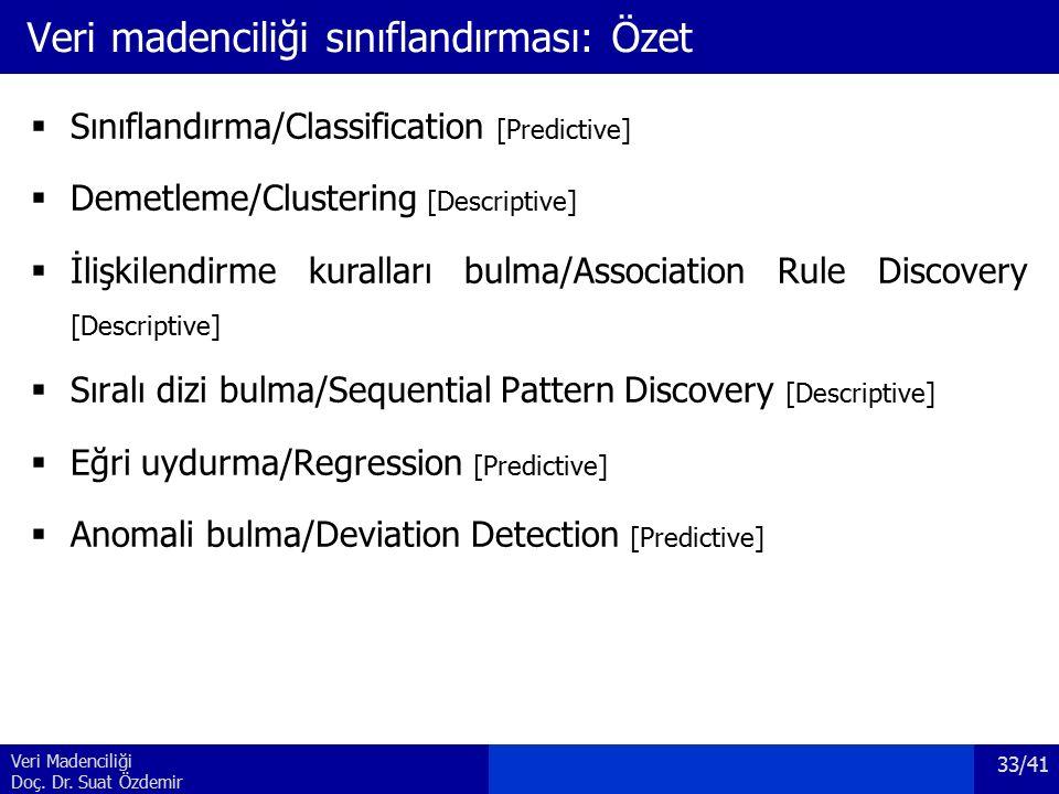 Veri Madenciliği Doç. Dr. Suat Özdemir Veri madenciliği sınıflandırması: Özet  Sınıflandırma/Classification [Predictive]  Demetleme/Clustering [Desc