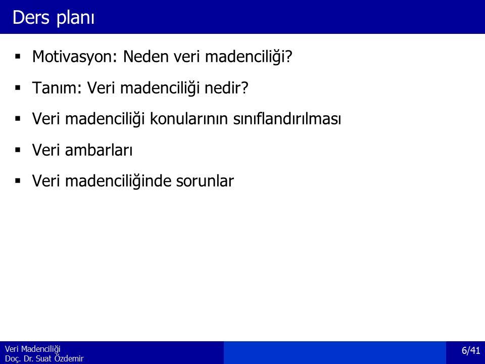 Veri Madenciliği Doç. Dr. Suat Özdemir Ders planı  Motivasyon: Neden veri madenciliği?  Tanım: Veri madenciliği nedir?  Veri madenciliği konularını