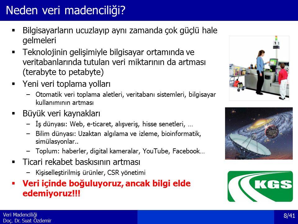Veri Madenciliği Doç. Dr. Suat Özdemir Neden veri madenciliği.