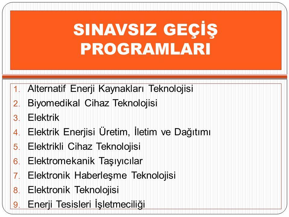 SINAVSIZ GEÇİŞ PROGRAMLARI 10.Grafik Tasarımı 11.