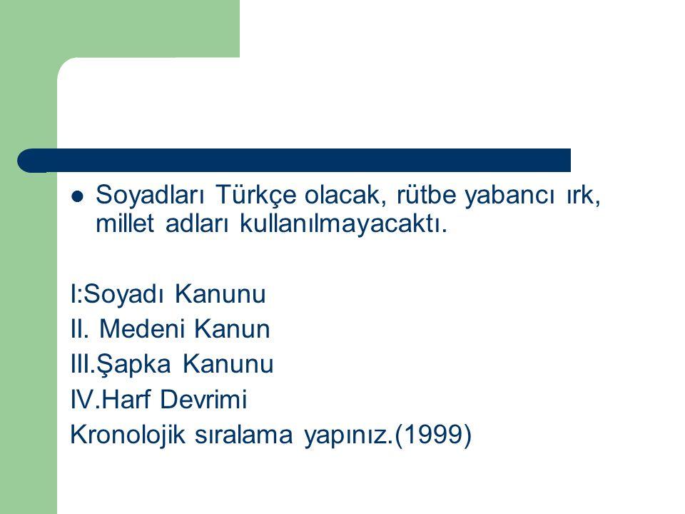 Soyadları Türkçe olacak, rütbe yabancı ırk, millet adları kullanılmayacaktı. I:Soyadı Kanunu II. Medeni Kanun III.Şapka Kanunu IV.Harf Devrimi Kronolo