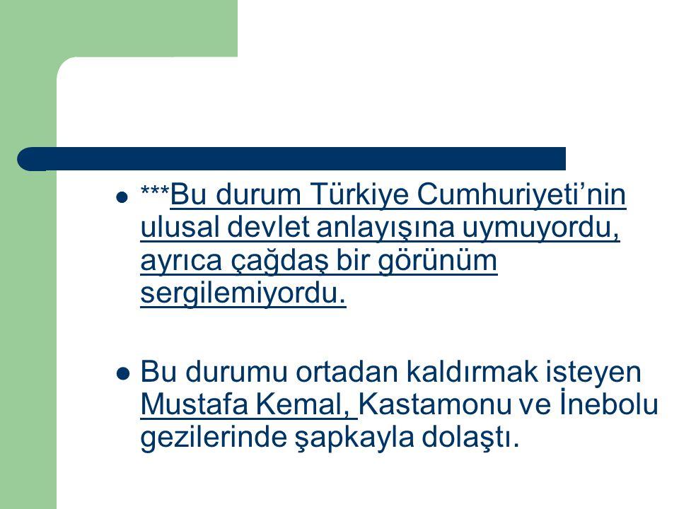 *** Bu durum Türkiye Cumhuriyeti'nin ulusal devlet anlayışına uymuyordu, ayrıca çağdaş bir görünüm sergilemiyordu. Bu durumu ortadan kaldırmak isteyen