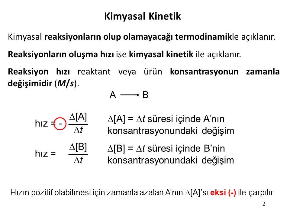 3 A B hız = -  [A] tt hız = [B][B] tt