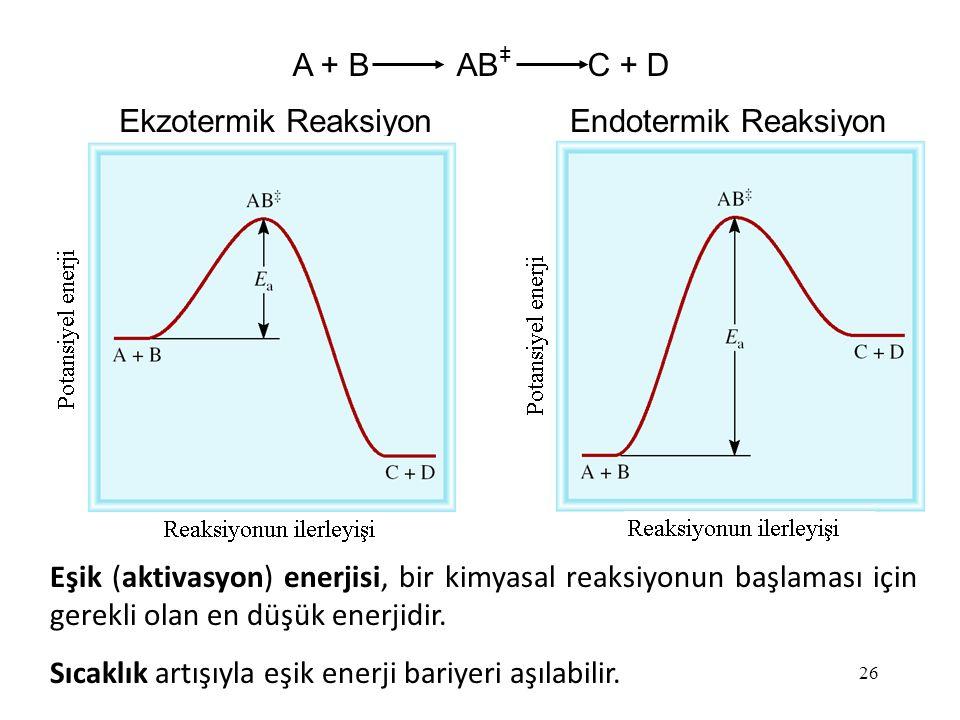 26 Ekzotermik ReaksiyonEndotermik Reaksiyon Eşik (aktivasyon) enerjisi, bir kimyasal reaksiyonun başlaması için gerekli olan en düşük enerjidir.