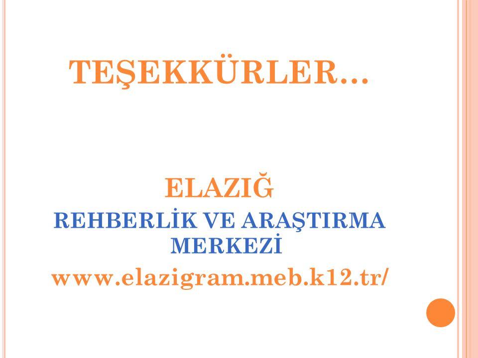 TEŞEKKÜRLER… ELAZIĞ REHBERLİK VE ARAŞTIRMA MERKEZİ www.elazigram.meb.k12.tr/