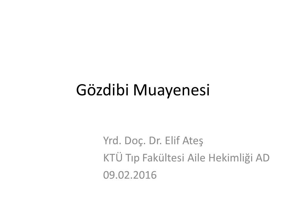 Gözdibi Muayenesi Yrd. Doç. Dr. Elif Ateş KTÜ Tıp Fakültesi Aile Hekimliği AD 09.02.2016
