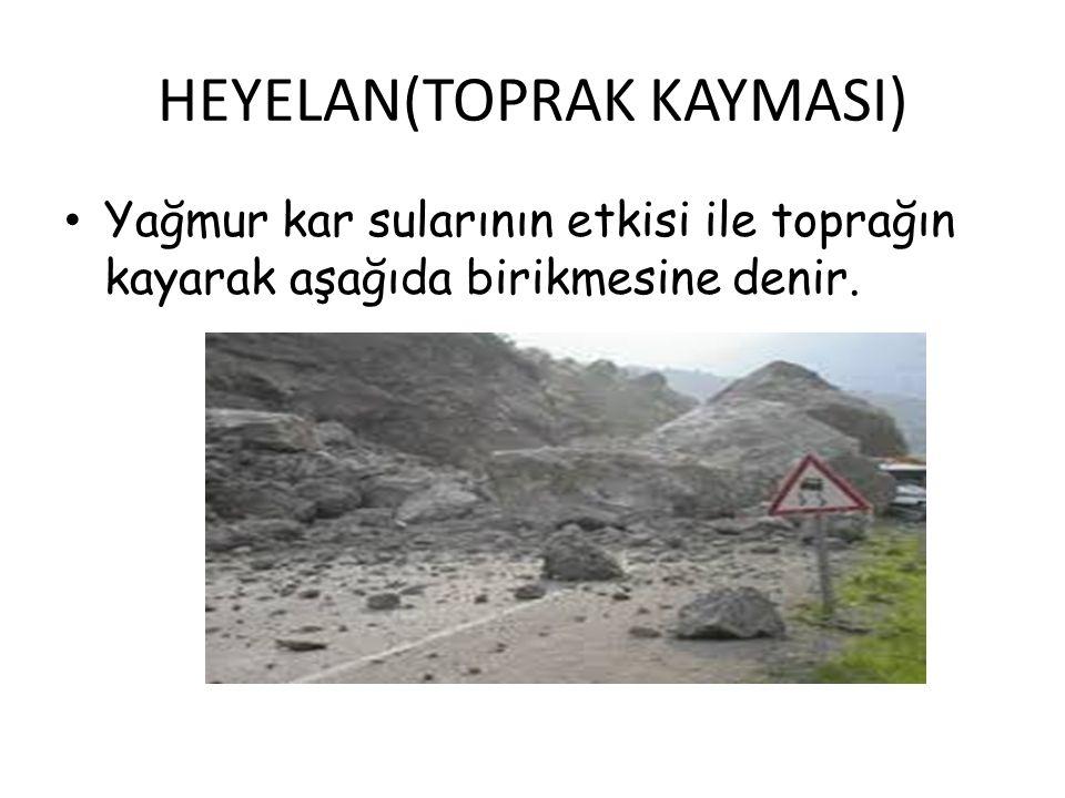 HEYELAN(TOPRAK KAYMASI) Yağmur kar sularının etkisi ile toprağın kayarak aşağıda birikmesine denir.