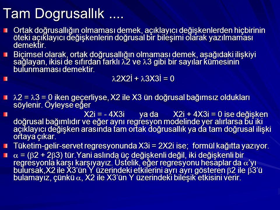Y 'nin koşullu beklenen değerini şöyledir E(Yi  X2i, X3i ) =  1 +  2X2i +  3X3i Kısmi regresyon katsayısının anlamı şudur:  2, X3 sabit tutulurken, X2 'deki bir birimlik değişmeye karşılık Y 'nin beklenen değeri olan E(Y  X2, X3) 'teki değişmeyi ölçer.