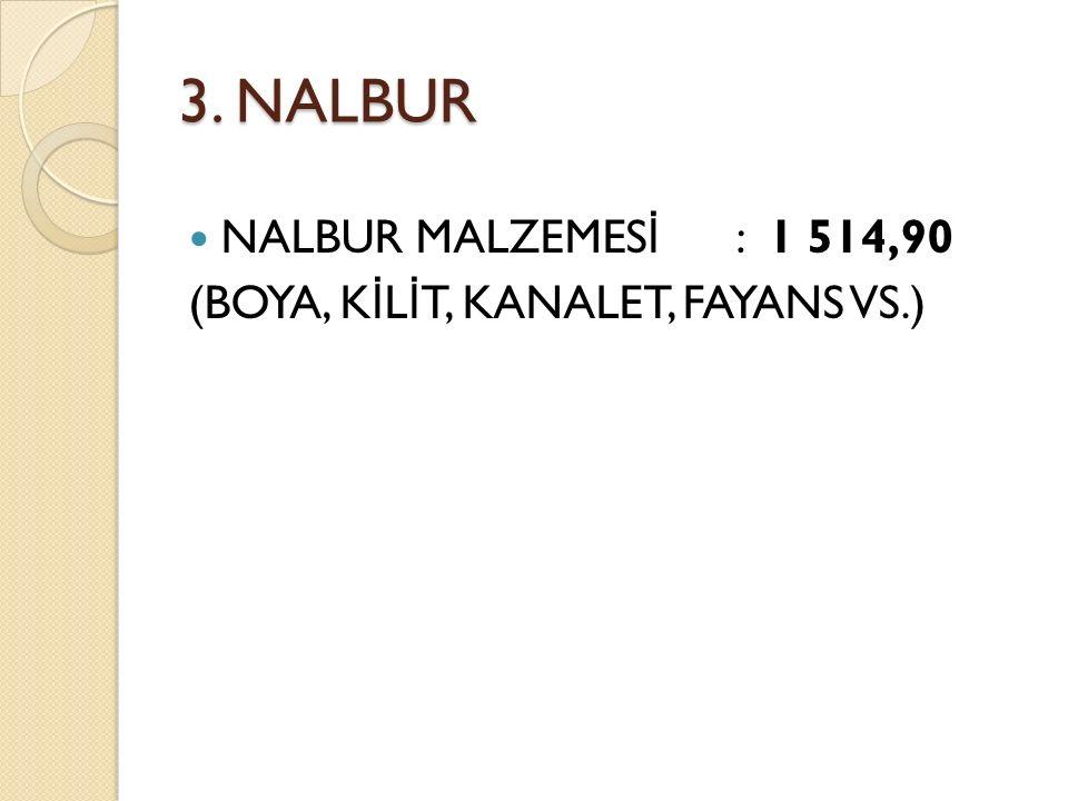 3. NALBUR NALBUR MALZEMES İ : 1 514,90 (BOYA, K İ L İ T, KANALET, FAYANS VS.)