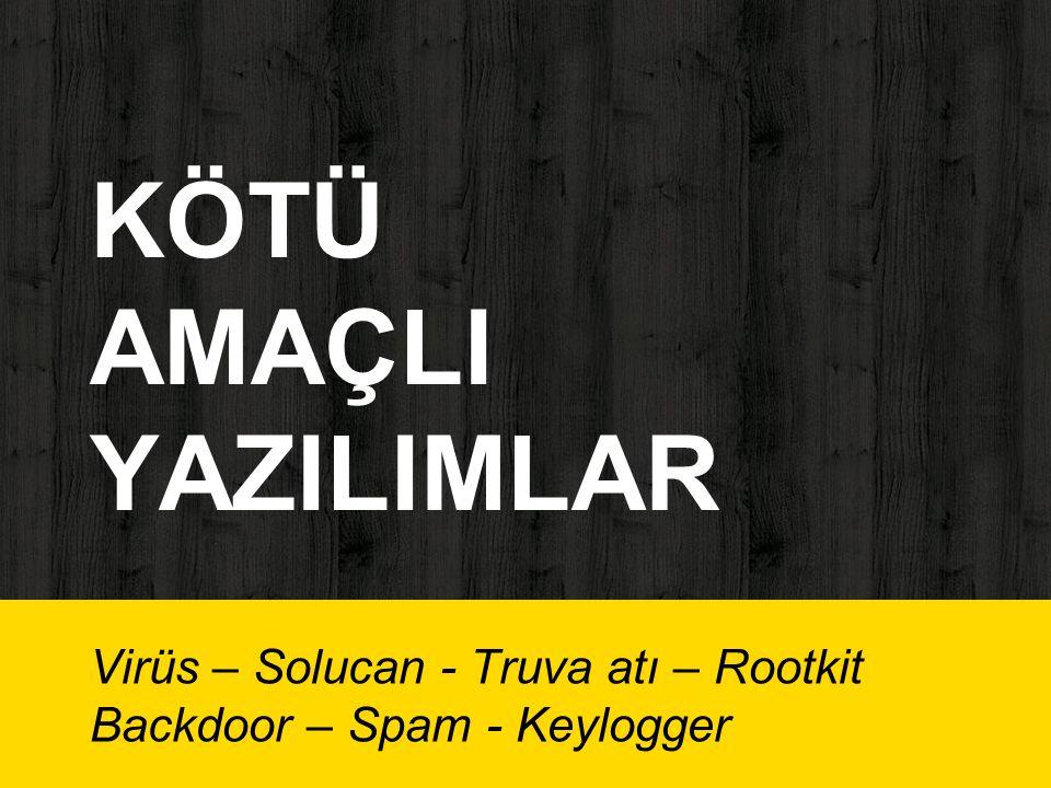 KÖTÜ AMAÇLI YAZILIMLAR Virüs – Solucan - Truva atı – Rootkit Backdoor – Spam - Keylogger