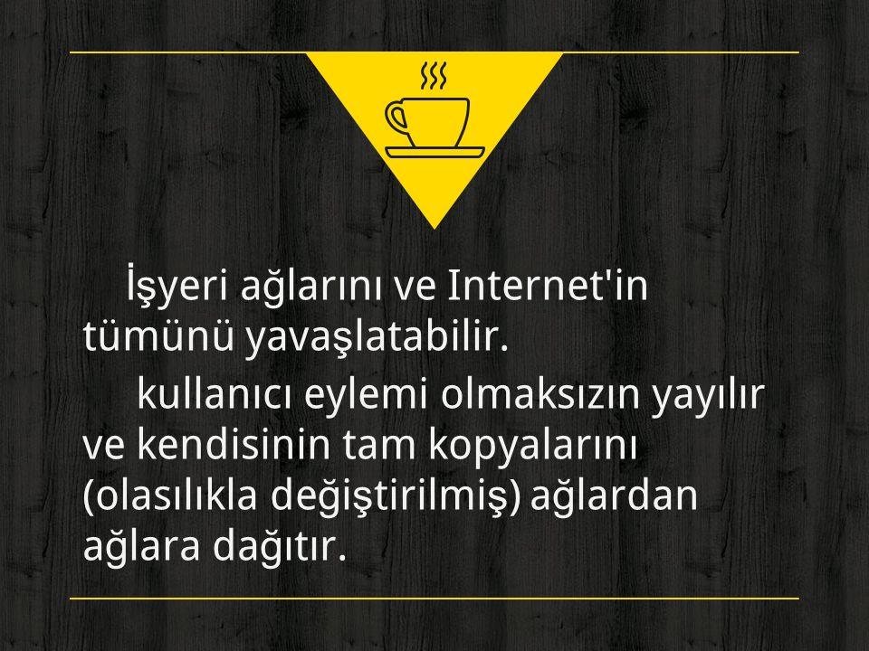 ◈ İşyeri ağlarını ve Internet in tümünü yavaşlatabilir.