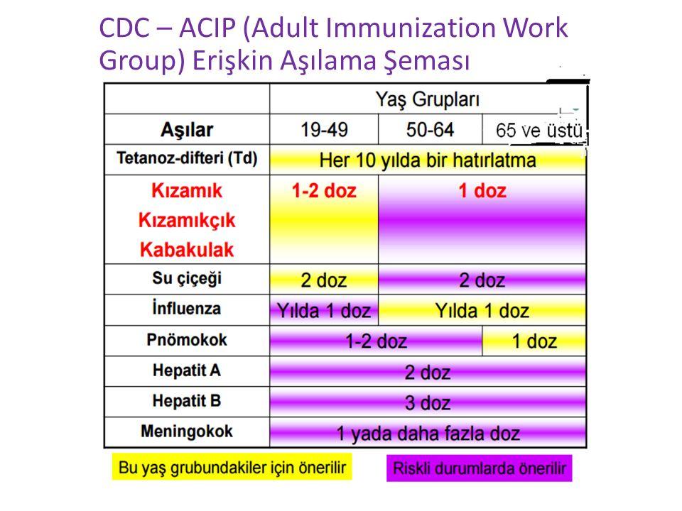 CDC – ACIP (Adult Immunization Work Group) Erişkin Aşılama Şeması