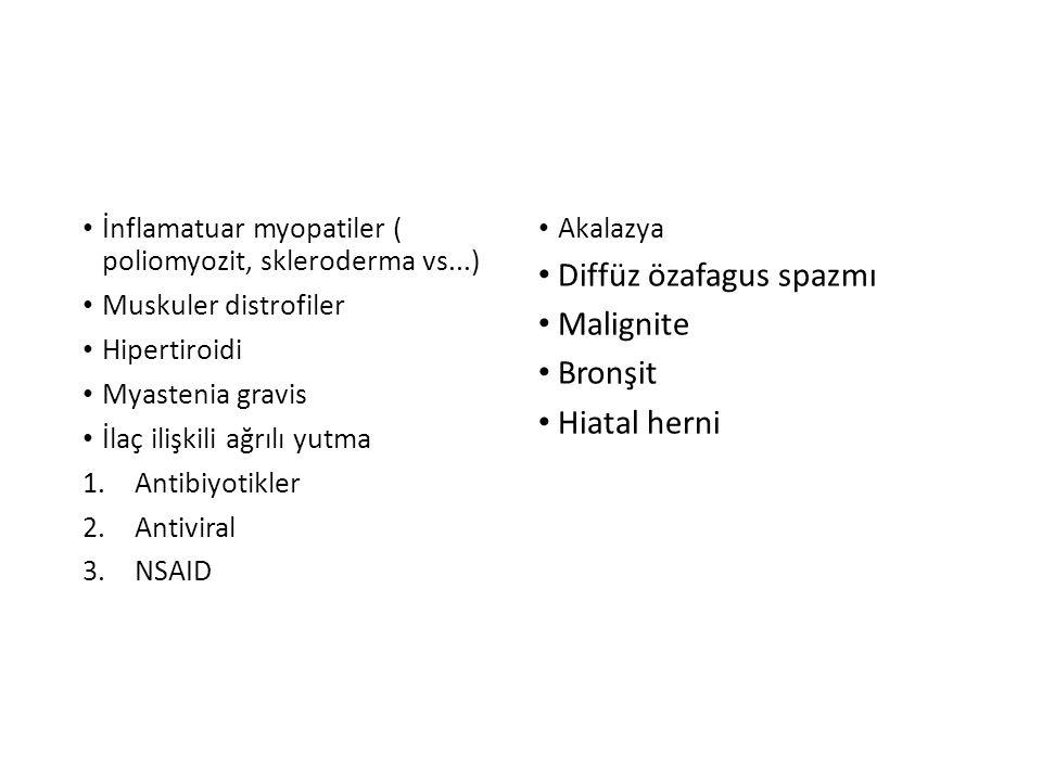 İnflamatuar myopatiler ( poliomyozit, skleroderma vs...) Muskuler distrofiler Hipertiroidi Myastenia gravis İlaç ilişkili ağrılı yutma 1.Antibiyotikle