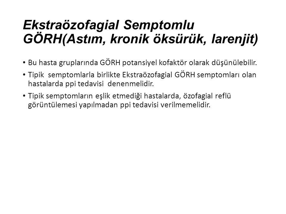 Ekstraözofagial Semptomlu GÖRH(Astım, kronik öksürük, larenjit) Bu hasta gruplarında GÖRH potansiyel kofaktör olarak düşünülebilir. Tipik semptomlarla