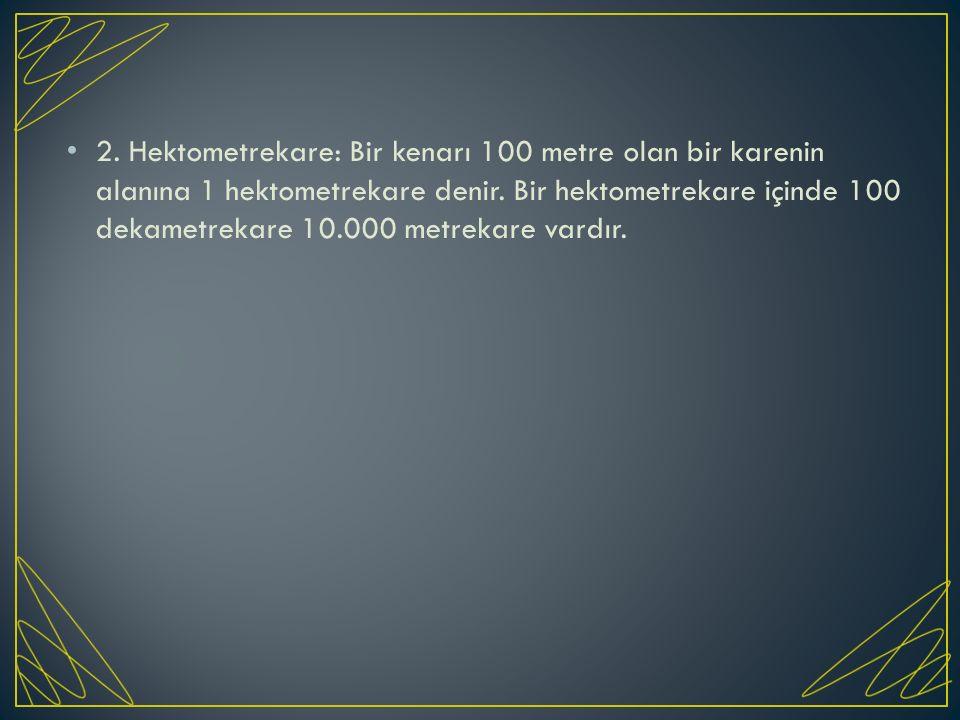 2. Hektometrekare: Bir kenarı 100 metre olan bir karenin alanına 1 hektometrekare denir. Bir hektometrekare içinde 100 dekametrekare 10.000 metrekare