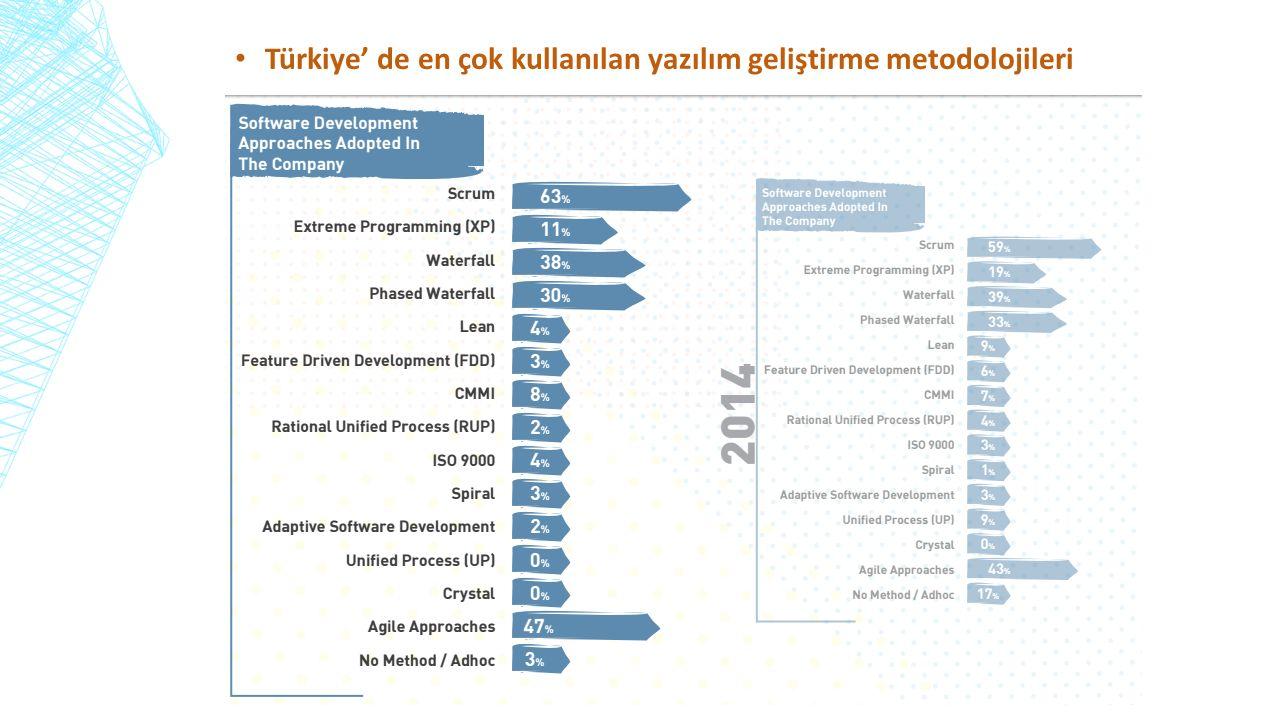 Türkiye' de en çok kullanılan yazılım geliştirme metodolojileri