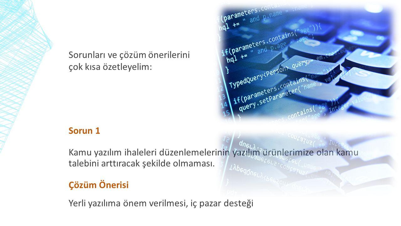 Sorun 1 Kamu yazılım ihaleleri düzenlemelerinin yazılım ürünlerimize olan kamu talebini arttıracak şekilde olmaması.