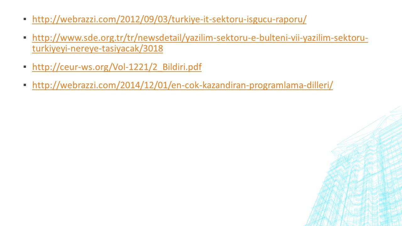 ▪ http://webrazzi.com/2012/09/03/turkiye-it-sektoru-isgucu-raporu/ http://webrazzi.com/2012/09/03/turkiye-it-sektoru-isgucu-raporu/ ▪ http://www.sde.org.tr/tr/newsdetail/yazilim-sektoru-e-bulteni-vii-yazilim-sektoru- turkiyeyi-nereye-tasiyacak/3018 http://www.sde.org.tr/tr/newsdetail/yazilim-sektoru-e-bulteni-vii-yazilim-sektoru- turkiyeyi-nereye-tasiyacak/3018 ▪ http://ceur-ws.org/Vol-1221/2_Bildiri.pdf http://ceur-ws.org/Vol-1221/2_Bildiri.pdf ▪ http://webrazzi.com/2014/12/01/en-cok-kazandiran-programlama-dilleri/ http://webrazzi.com/2014/12/01/en-cok-kazandiran-programlama-dilleri/