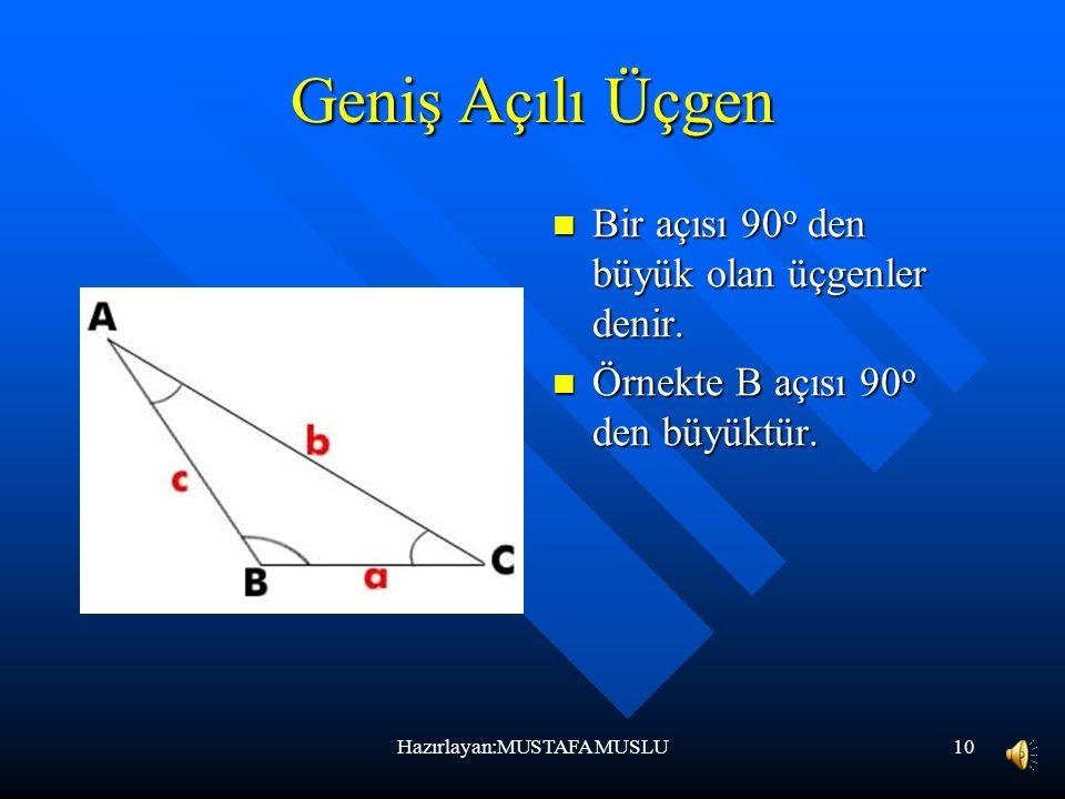 9 Dik Açılı Üçgen Bir açısı 90 o olan üçgenlere denir. Örnekte B açısı 90 o dir. Hazırlayan:MUSTAFA MUSLU