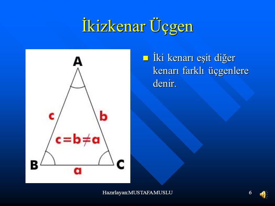 6 İkizkenar Üçgen İki kenarı eşit diğer kenarı farklı üçgenlere denir. Hazırlayan:MUSTAFA MUSLU