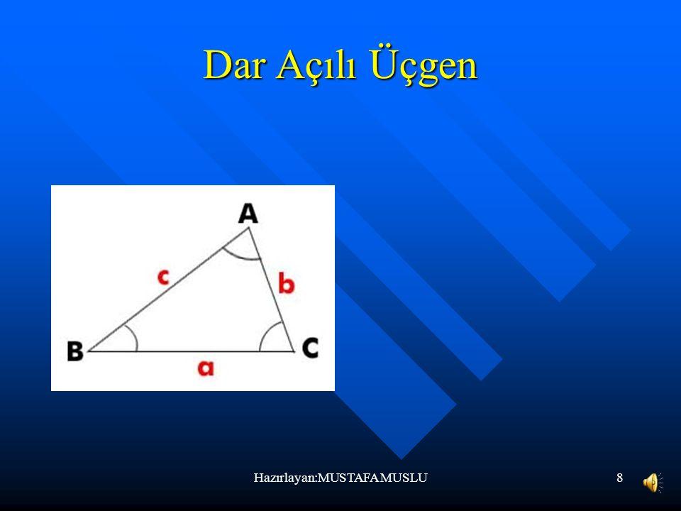 7 Çeşitkenar Üçgen Kenar uzunlukları farklı olan üçgenlere denir. Hazırlayan:MUSTAFA MUSLU
