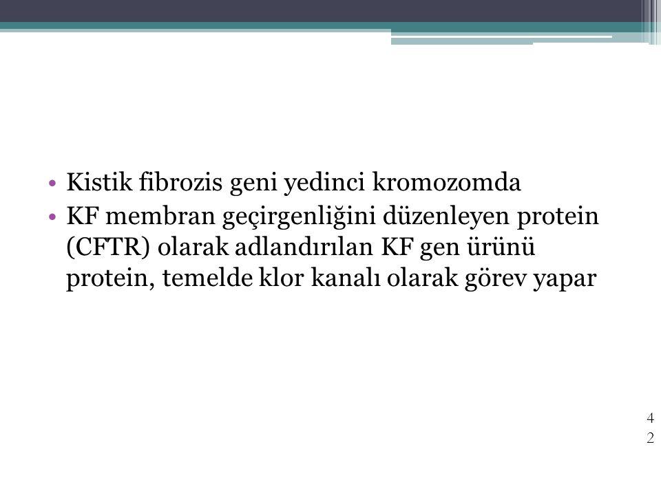 Kistik fibrozis geni yedinci kromozomda KF membran geçirgenliğini düzenleyen protein (CFTR) olarak adlandırılan KF gen ürünü protein, temelde klor kan