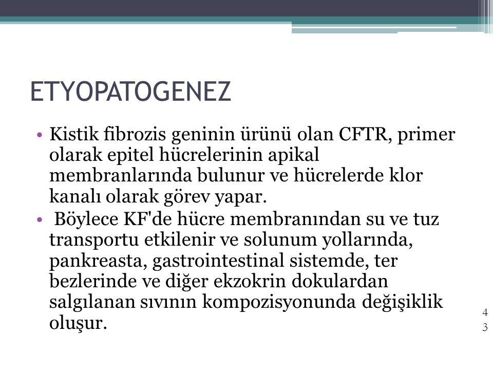 ETYOPATOGENEZ Kistik fibrozis geninin ürünü olan CFTR, primer olarak epitel hücrelerinin apikal membranlarında bulunur ve hücrelerde klor kanalı olara
