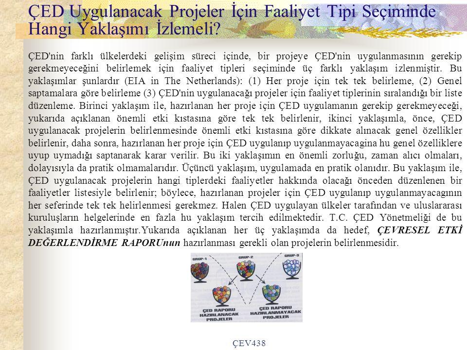 ÇEV438 ÇED Uygulanacak Projeler İçin Faaliyet Tipi Seçiminde Hangi Yaklaşımı İzlemeli.