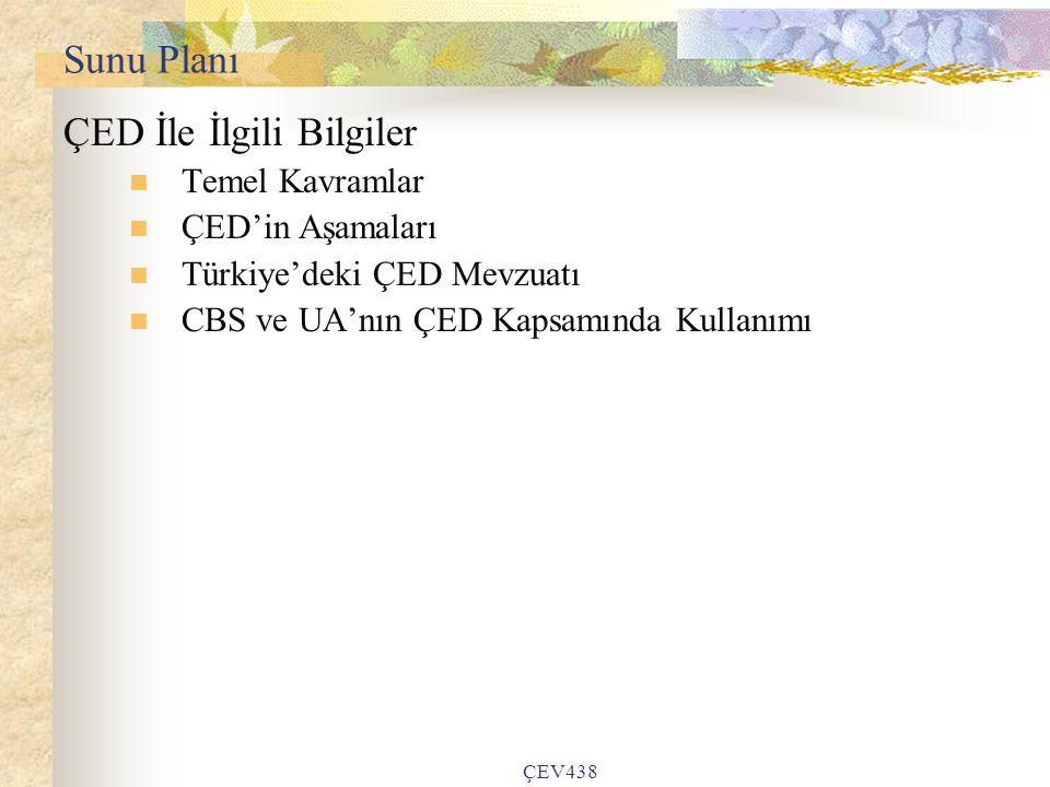 Sunu Planı ÇED İle İlgili Bilgiler Temel Kavramlar ÇED'in Aşamaları Türkiye'deki ÇED Mevzuatı CBS ve UA'nın ÇED Kapsamında Kullanımı ÇEV438