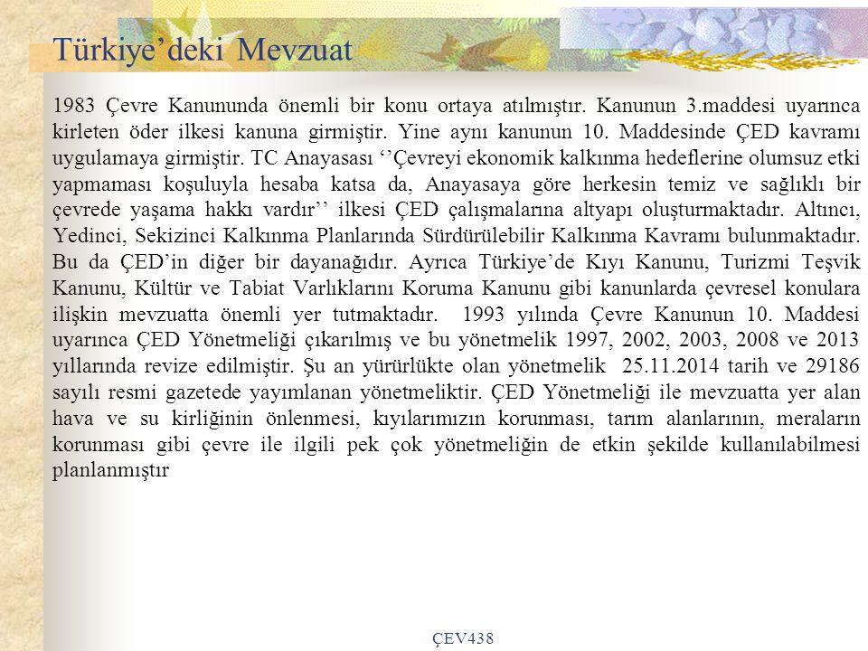 ÇEV438 Türkiye'deki Mevzuat 1983 Çevre Kanununda önemli bir konu ortaya atılmıştır.