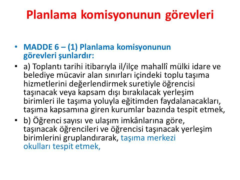 Planlama komisyonunun görevleri MADDE 6 – (1) Planlama komisyonunun görevleri şunlardır: a) Toplantı tarihi itibarıyla il/ilçe mahallî mülki idare ve