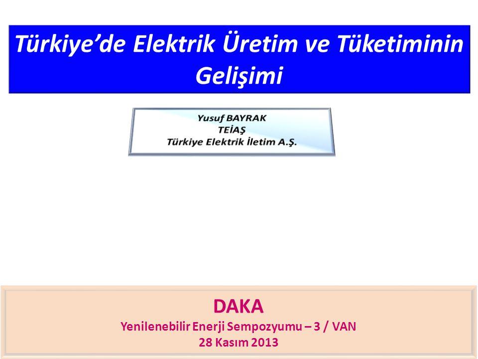 Türkiye'de Elektrik Üretim ve Tüketiminin Gelişimi DAKA Yenilenebilir Enerji Sempozyumu – 3 / VAN 28 Kasım 2013
