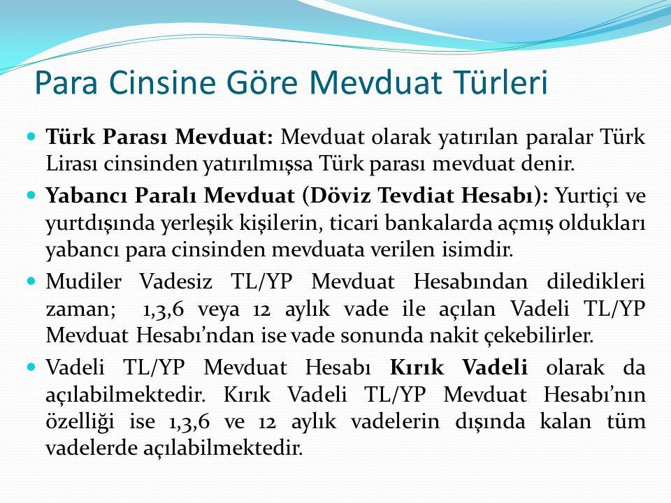 Para Cinsine Göre Mevduat Türleri Türk Parası Mevduat: Mevduat olarak yatırılan paralar Türk Lirası cinsinden yatırılmışsa Türk parası mevduat denir.