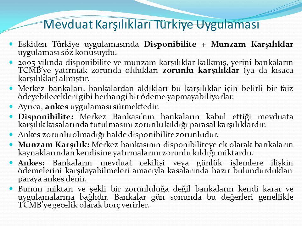 Mevduat Karşılıkları Türkiye Uygulaması Eskiden Türkiye uygulamasında Disponibilite + Munzam Karşılıklar uygulaması söz konusuydu. 2005 yılında dispon
