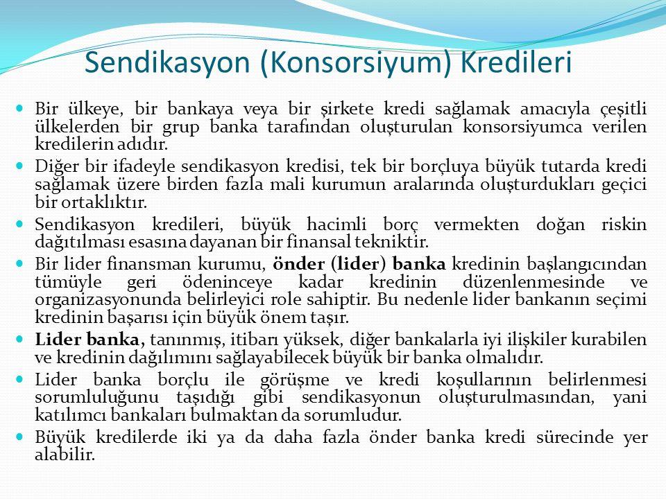 Sendikasyon (Konsorsiyum) Kredileri Bir ülkeye, bir bankaya veya bir şirkete kredi sağlamak amacıyla çeşitli ülkelerden bir grup banka tarafından oluş