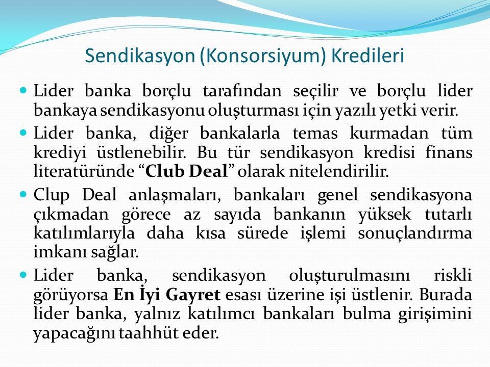Sendikasyon (Konsorsiyum) Kredileri Lider banka borçlu tarafından seçilir ve borçlu lider bankaya sendikasyonu oluşturması için yazılı yetki verir. Li