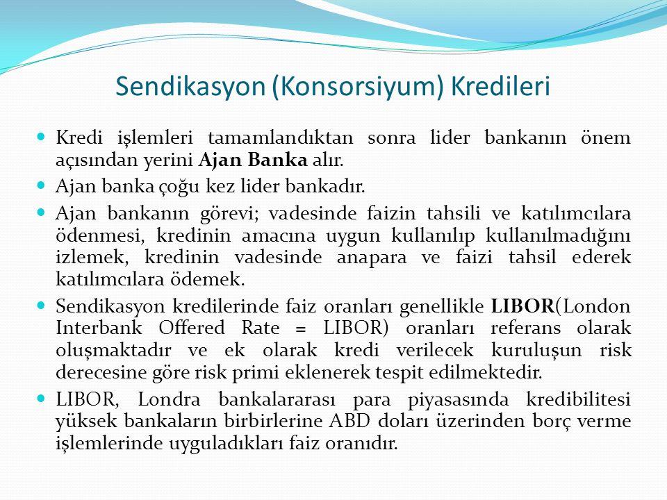 Sendikasyon (Konsorsiyum) Kredileri Kredi işlemleri tamamlandıktan sonra lider bankanın önem açısından yerini Ajan Banka alır. Ajan banka çoğu kez lid